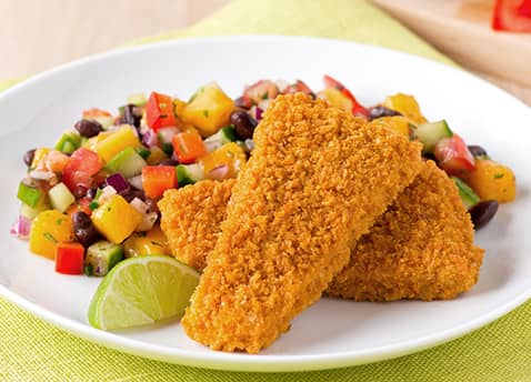 Tex mex mango and black bean salad with smart crunchy for How to make breaded fish